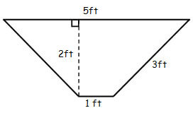 Trapezoid. Long side is 5ft, other sides are 3ft and 1ft, height of 2 ft